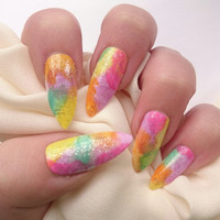 Pastel Summer Nails / Fake Nails / Nail Decals / For Her Present / stiletto Nails / Pink Nails / Birthday Gifts / Rainbow Nail / Pride Nails