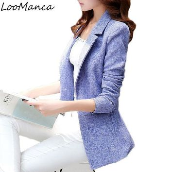 DCCKF4S 2017 New Fashion Women Blazers and Jackets Korean Style Female Long Blaser Coat Femme plus size work wear Suit