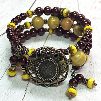 Brown and Yellow Bracelet - Yellow Wrap Bracelet - Button Bead Bracelet - Bohemian Bracelet - Stocking Stuffer - Christmas Gift TDC616