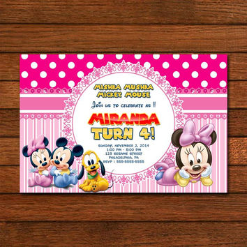 Mickey & Minnie Mouse Pink Baby Invitation
