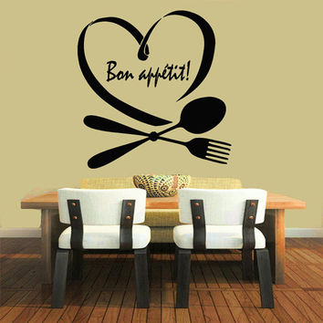 Wall Decals Love Quotes Phrase Words Bon Appetit Spoon Folk Cafe Kitchen Decor Interior Design Vinyl Sticker Decal Home Art Murals KG680