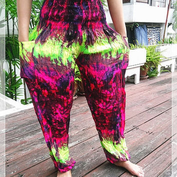 Colorful Art Pants Smock Waist Yoga Baggy Boho Hippie Gypsy Tribal Aladdin Fisherman Clothing Beach Baggy Casual Tank Trousers Dress Beach