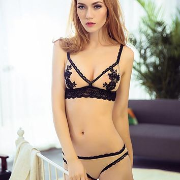 Women Bra & Brief Sets Embroidery Floral Lace Bralette Set Bra and Panty Wireless Thin Demi Bra Sexy Lingerie See Though Bras