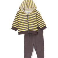 Yellow & Gray Stripe Hoodie & Pants - Infant