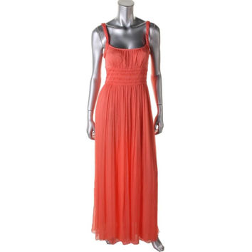Catherine Malandrino Womens Silk Crinkled Evening Dress