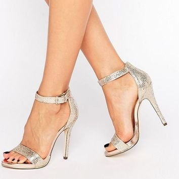 Call It Spring Sheren Gold Barely There Heeled Sandals at asos.com