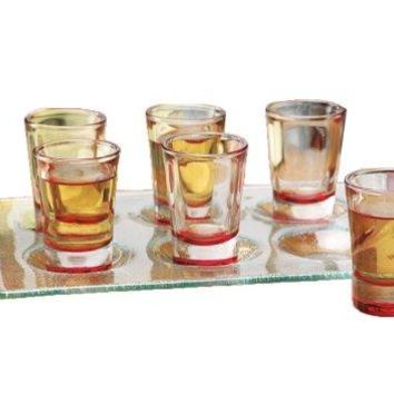 """Palais Seven (7) Piece Carnival Party Set, Set of Six (6) High Quality Heavy Colored Base Shot Glasses, Clear Glass, 1 1/4 Ounce, Along with a Beautiful 7"""" X 10"""" Durable Frosted Glass Tray, Makes a Great Gift, or Celebrating Party Accessory (Red Bases wit"""