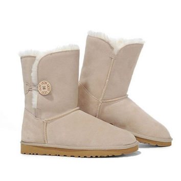 """UGG"" Women Fashion Wool Snow Boots Calfskin Shoes Beige"