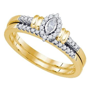 10k Gold Women's Marquise Diamond Wedding Ring Set - FREE Shipping (US/CA)