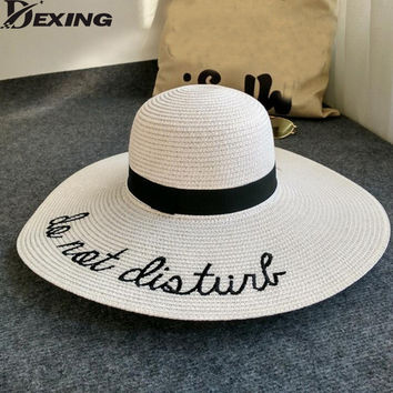 [Dexing] beach hat summer women wide brim panama straw hat floppy foldable  Visor letters sun hat for women ladies chapeu femme