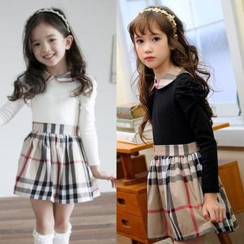 Kids dress for 3-9Years 2015 autumn winter long sleeve dress plaid cute toddler girl clothes christmas dress princess costume