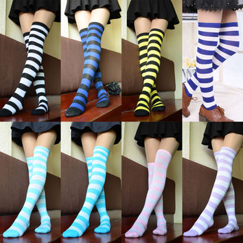 Set of 4  Striped Cotton Thigh High Stocking Over the Knee Socks  (roland color)