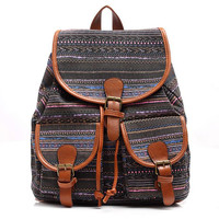 Retro Style Canvas Backpack Travel Bag School Bookbag Gift