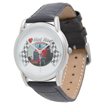I Heart Hot Rods Watch w/ Black Leather Strap