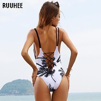 One Piece Swimsuit Sexy Swimwear Women Bathing Suit Swim Vintage Beach Wear Print Bandage Push up Monokini Swim Suit