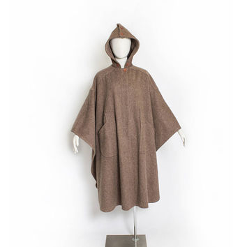 Vintage 1980s Poncho - Brown WOOl Hooded Oversized Heavy Weight Coat - OSFM