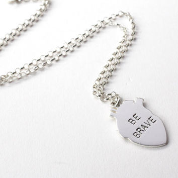 Be Brave Heart Necklace, Sterling Silver, Anatomical Heart, Handmade Jewellery, Brighton uk