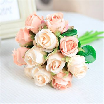 12pcs/lots Artificial Rose Flowers Wedding bouquet White Pink Thai Royal Rose Silk flowers Home Decoration Wedding Party Decor