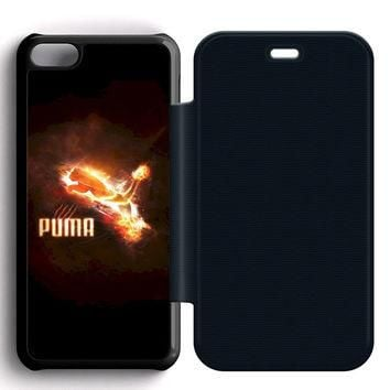 Puma Red Logo Leather Wallet Flip Case iPhone 5C