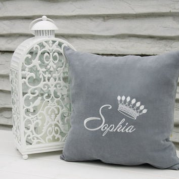 Personalized Pillow Covers Princess Crown Custom Pillowcase Girl Name Initial Decorative Monogram Pillow Cover Home Decor Throw Pillows V21