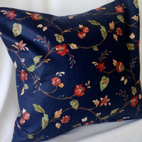 Floral Decorator Print on Dark Blue Pillow Cover 16 X 16 Upcycled