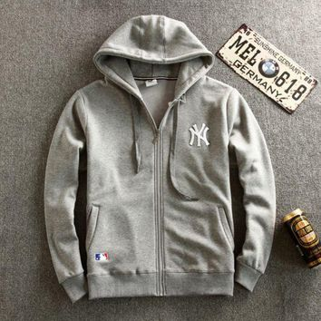 DCCKUNT Gray NY Embroidered Men's Zipper Long Sleeve Zipper Sweater Cardigan Coat