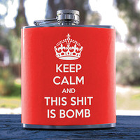 Keep Calm, Best Hip Flask 6oz, Internet Meme/Hipster Style, for Anniversaries, Weddings, Gifts, Birthday, Bridesmaid, Sorority & more!