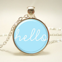 Hello Necklace, Blue Jewelry, Cute Pendant (1561S1IN)