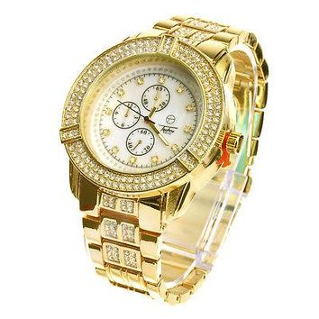Jewelry Kay style Men's Fashion Gold Plated Metal Band Bling Stoned Hip Hop Watches WM 7949 G