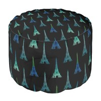 Paris Eiffel Tower Blue Green Black Pouf Seat