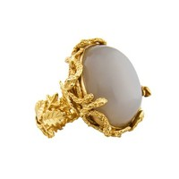 Bernard Delettrez Snake Ring with Moonstone - ShopBAZAAR