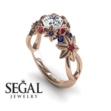 Unique Engagement Ring 14K Red Gold Flowers And Branches Art Deco Edwardian Ring White diamond With Ruby - Katherine