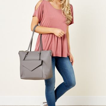 So Much To Say Dusty Pink Cold Shoulder Top