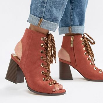 River Island lace up heeled shoe boots in rust at asos.com