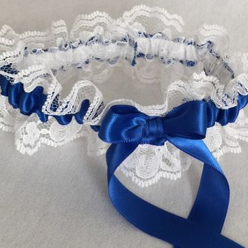 Royal Blue and White Lace Wedding Garter, Prom Garter, Bridal Garter, Weddings, Bridesmaid Gift, Homecoming Garter, Bridal Gift
