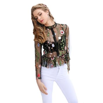 Women's Sheer Floral Blouse