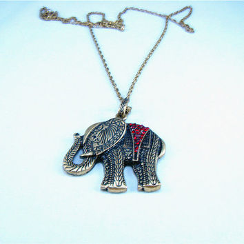 Elephant Pendant Necklace, Crystal Necklace, Enco-friendly Personalized Charm Jewelry Friendship Gift.