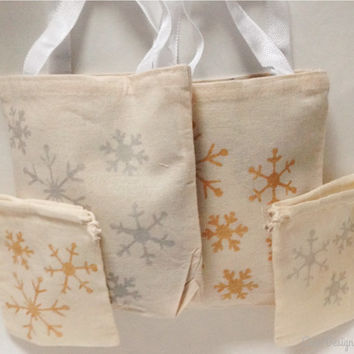Snowflake Gift Bags - Reusable Bags - Two Sizes - Cotton Muslin Drawstring and Canvas Tote- Gold and Silver Options