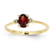 14k Yellow Gold Diamond Garnet Birthstone Ring