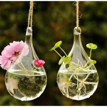 Clear Hanging Glass Flower Plant Vase Hydroponic Container Pot Home Decor(Without String)