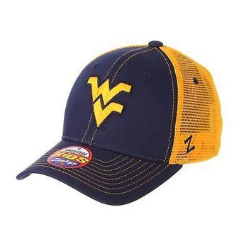 Licensed West Virginia Mountaineers NCAA Youth Staple Trucker Adjustable Hat Cap Zephyr KO_19_1