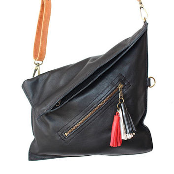 Crossbody bag, Leather cross body purse, Black leather bag, Foldover, Everyday bag