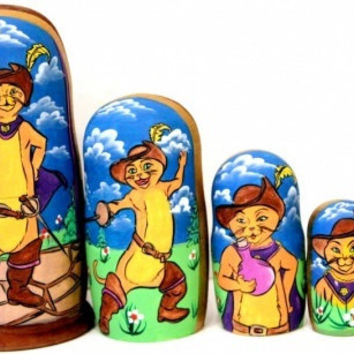 Puss in Boots traditional russian nesting doll toy made curved painted hand collectible souvenir wood linden holiday birthday gift decorat