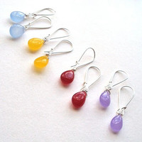 Jade gemstone silver dangly earrings - choose your colour