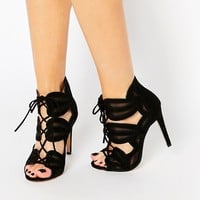 New Look Wide Fit Lace Up Heeled Sandals at asos.com