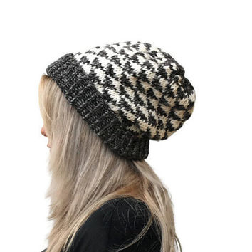 Triangle Hat / Knit Beanie  Hat / Geometric Dark Grey- Cream hat / Chunky slouchy hat / Women alpaca Hat / Winter hat
