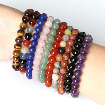 8mm Tiger Eye Hand Bracelets Bangles Elastic Rope Chain Natural Stone Loose Beads Friendship Bracelets For Women and Men Jewelry