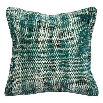 "Turquoise Handmade Overdyed Rug Pillow 16""x16"""