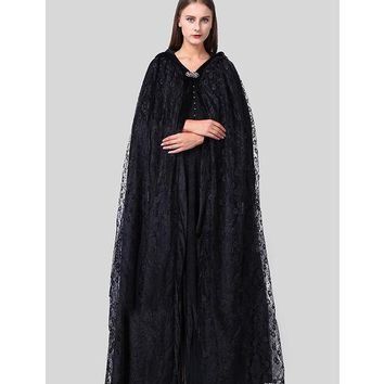 ICIKHY9 Top Quality Halloween Costumes For Women Priestess Witch Black Cloak Wraps Coats And Dresses Gothic Style Dark Secrets Women