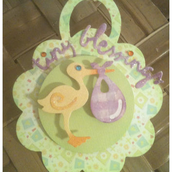 FOUR Baby Shower Stork New Baby Lime Lavendar by alohacookiegirl